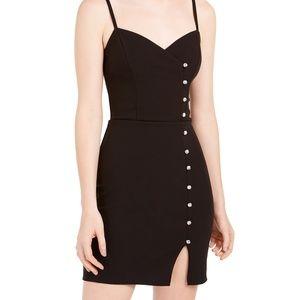 Trixxi Crystal-Button Scuba Slip Dress
